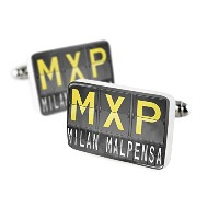 Cufflinks MXP Airportコードfor Milan – Malpensa磁器セラミックNEONBLOND