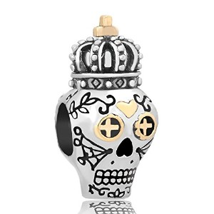 lilyjewelry Dia De Los Muertosスカルチャームwith Crown Beads forスネークチェーンブレスレット