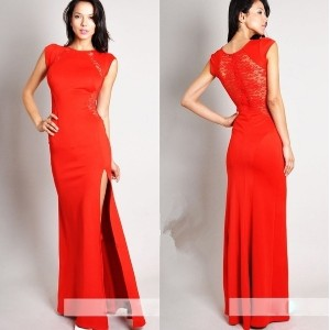 Red Sexy Trendy Elegant Womens Slim Long Maxi lace Gown Evening Cocktail Party Wedding  Dress