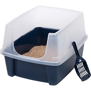 IRIS Open Top Cat Litter Box Kit with Shield and Scoop, Blue by IRIS USA, Inc.