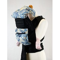 lue Paisley Floral Mei Tai Baby Sling Carrier With Hood and Pocket by Palm&Pond