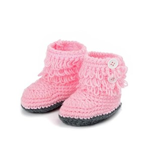BESSKY Baby Girls' Handmade Crochet Knit High-top Tall Boots Shoes (Pink) by BESSKY