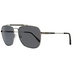 FT0377 09D Shiny Gunmetal, Shiny Black / Grey POLARIZED Lenses