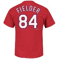 Prince Fielder # 84 Texas Rangers MLBメンズName & Number Player Tシャツレッド( L )