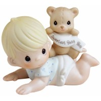 Precious Moments、ベビーギフト、The Sweetest Baby Boy、ビスク磁器フィギュア、男の子、# 101500by Precious Moments