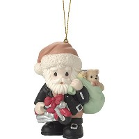 Precious MomentsすべてRevved Up For The Holidays Santa inオートバイジャケットBisque Porcelain Ornament 171032