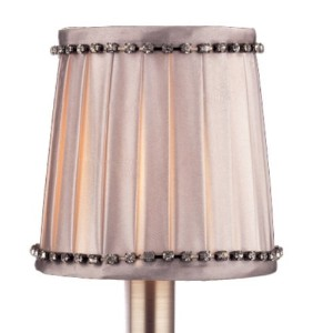 SA107 Grey Satin Pleated Fabric with Rhinestone Trim Accents Accessory Lamp Shade [並行輸入品]