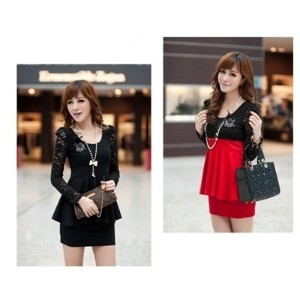 Womens Sexy Dress Long Sleeves Lace Top Peplum Slim Party Cocktail Dress Black/Red