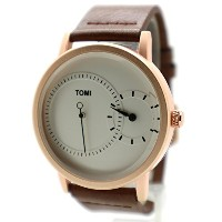 Jikan Tomi Dress Watch (ドレスウォッチ) Analog White/Brown Color Leather Strap Gifs For Men's Women's Boy...