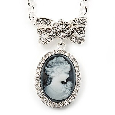 Diamante 'Cameo With Bow' Pendant Necklace In Antique Silver Metal Finish - 56cm Length with 6cm...
