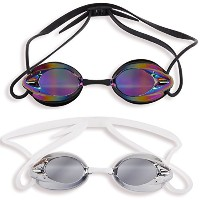 2Pack : The Friendly Swede Swim Goggles for Adults with Interchangeable鼻ピース、保護ケース、ブラックとクリア