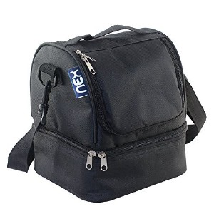 NEXランチバッグファブリックDouble Decker Cooler Lunch Box Insulated Lunchバッグwith Zip Closure Black ブラック