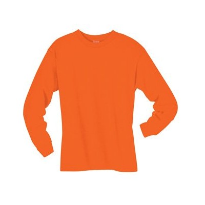 Hanes 5186 Adult Beefy T Long Sleeve T-Shirt Size XL, Orange