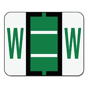 A-Z Color-Coded Bar-Style End Tab Labels, Letter W, Dark Green, 500/Roll (並行輸入品)