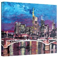 アート壁' Frankfurt Manhattan Skyline 'ギャラリーWrappedキャンバスアートワークby Martina Bleichner 24 by 32-Inch...