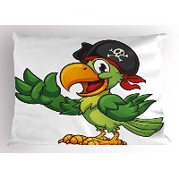 Pirate Pillow Sham by lunarable、漫画Parrot with Pirate Hat Eye Patch揺れるHand Gestureかわいい面白い文字...