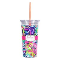 Lilly Pulitzer Tumbler with Straw–エキゾチックガーデン