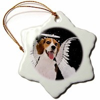 3dローズDoreen Erhardt Dogs – ビーグルAngel、クラウドで犬AキュートHalo and Angel Wings – Ornaments 3 inch Snowflake...