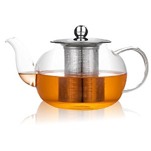 Xenics Glass Teapot with Stainless Steel Infuserと蓋、21oz / 600mlホウケイ酸超軽量高熱抵抗ティーポット花茶とLoose Leaf Tea...