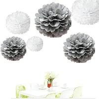 Sinceテつョ12Pcs of 8 10 14 3 Colors Mixed White and Grey Tissue Paper Flowers,Tissue Paper Pom Poms,...