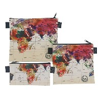 (Mark Ashkenazi (Israel) - World Map) - Reusable Sandwich & Snack Baggies by ART OF LUNCH - Set of...