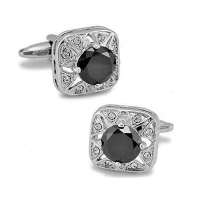 LBFEEL Big Crystal Cufflinks for Men in Square Shape in 6カラーwith aギフトボックス