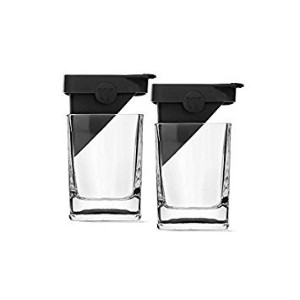 Corkcicle Whiskey Wedge (ダブルOld Fashionedガラス+シリコンアイスフォーム) 2 Pack ブラック CORKCICLE-2PK
