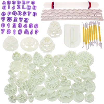 BIGTEDDY - 108pcs Cake Bakeware Sugarcraft Icing Decoration Kit with Flower Modelling Mould Mould...