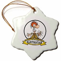3drose Dooni Designs Worlds Greatest漫画–Funny Worlds Greatest Electrician Cartoon–Ornaments 3...