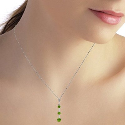 K14 Yellow, White, Rose Gold Necklace with Natural Peridot Drop Pendant