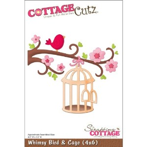 "CottageCutz Die W/Foam 4""X6""-Whimsy Bird & Cage (並行輸入品)"