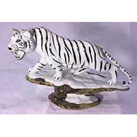 Feng Shui Tiger- Hand Crafted and Decorated Fine Porcelain, Figurine 110115. (White)