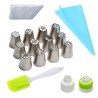 vexeng Russian Piping Tips 28個セットHappy Bakesツールケーキ用( 12ロシアアイシングノズルヒント1シリコンScraper 2 couplers 13...