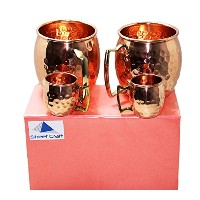 Streetクラフトギフト包装手作り100 % Pure Hammered Copper Authenticソリッド銅裏地なしMug / Cup capacity-16 Oz Cups With...