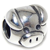 Proジュエリー925Solid Sterling Silver Pig Faceチャームビーズ