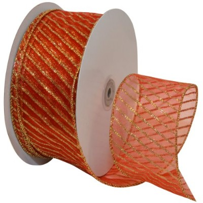 Morex Ribbon Stripes Wired Sheer Glitter Ribbon, 2-1/2-Inch by 50-Yard Spool, Red/Gold by Morex...