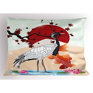 Koi Fish Pillow Sham by lunarable、日本文化Inspired Crane and Sea Animals With Sakura Branchアジアアートワーク...
