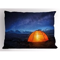 夜枕シャムby Ambesonneキャンプ、テントunder a night sky Full of Stars Holiday Adventure Exploring Outdoors標準Kingサ...