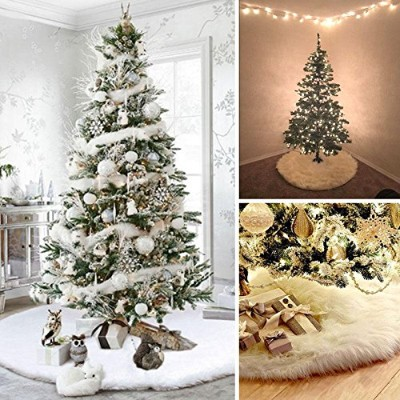 Kicode White Christmas Tree Skirt Plush Apron Xmas Print Ornaments Party Decor