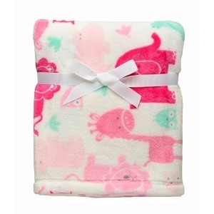 Baby Girl Safari Soft Blanket Lions, Elephants, Giraffes and Hippos by Baby Starters
