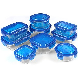 Glass Food Storage Container Set - Blue - BPA Free - FDA Approved - Reusable - Multipurpose Use for...