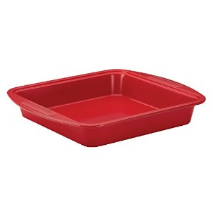 SilverStone Hybrid Ceramic Nonstick Bakeware Steel Square Cake Pan, 9-Inch x 9-Inch, Chili Red by...