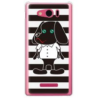 【送料無料】 Doggy Stripe ブラック (クリア) design by Moisture / for AQUOS PHONE Xx mini 303SH/SoftBank 【SECOND...