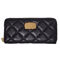 マイケルコース Michael Kors Fulton Hamilton Quilt Soft Genuine Leather Zip Around wallet 財布 Black [並行輸入品]