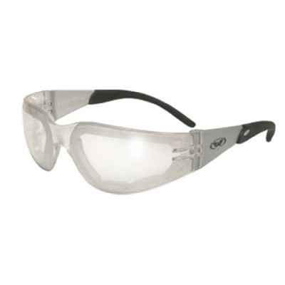 Global Vision Eyewear Rider Plus Anti-Fog Safety Glasses with Silver Temples and EVA Foam, Clear...