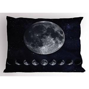 Moon Phases Pillow Sham by lunarable、Giant Moon On The Starry Night Sky Eclipse Movement天体科学...