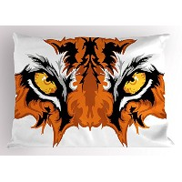 Eye Pillow Sham by Ambesonne、Tiger Eyesグラフィックマスコット動物面Bengal Cat African Safari Predatorテーマ...