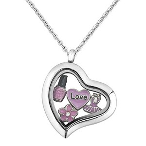 "luckyjewelry Loveピンク花フローティングチャームロケットネックレス18 ""チェーンfor Girl"