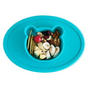 Silicone dining bowl and placemat in one-piece (Turquoise Bear) by Little Bot Baby リトルボットベビーシリコンダイニン...