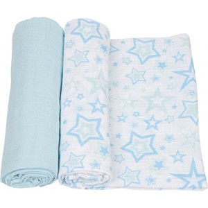 MiracleWare Muslin Swaddle Blanket, Blue Stars, 2 Piece by MiracleWare